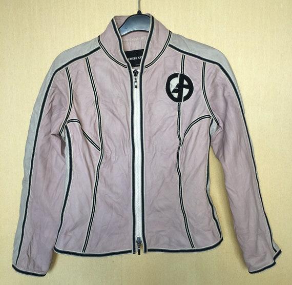 Giorgio armani pink leather jacket