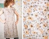 80s ditsy DRESS handmade floral tapestry formal fashion retro vintage wedding party lady classic old elegant grey office gift minimalist M