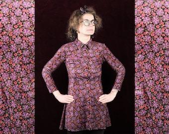 Somo Model DRESS Denmark fashion design date night out theatre opera romantic stylish Scandinavian hipster 80s velvet stripes purple belt L