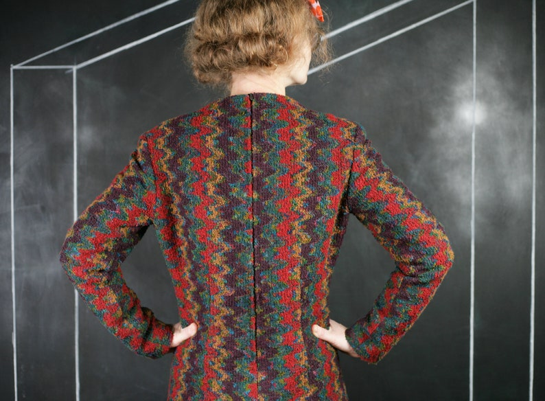 Boucle ikat DRESS warm print blue red brown thick warm winter autumn office formal romantic classic French zig zag handmade fashion S