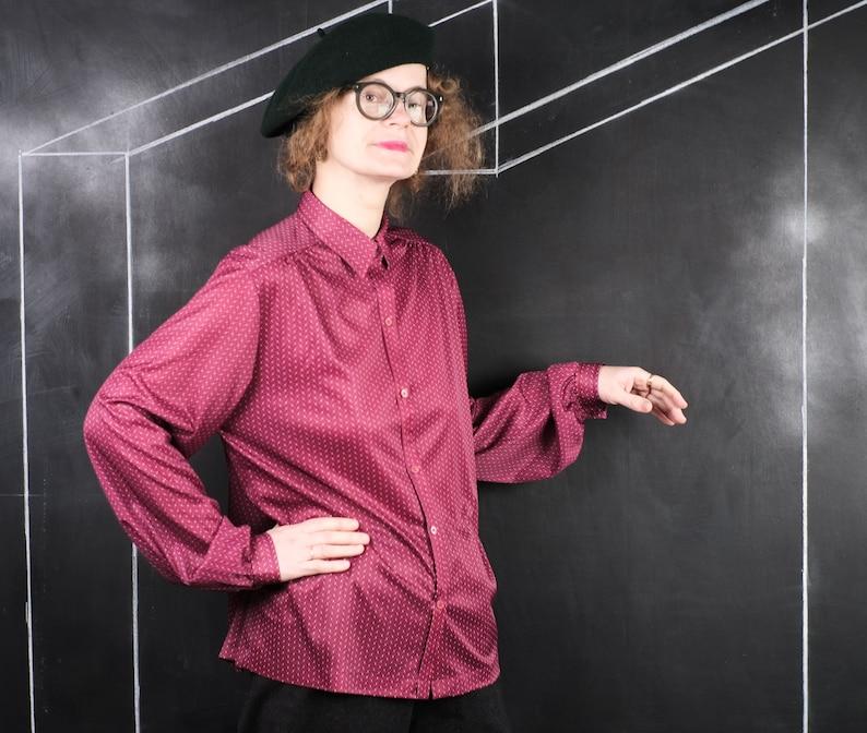 90s burgundy BLOUSE fashion hipster retro rave romantic date office pub party Scandinavian pink blue dot pattern design XL
