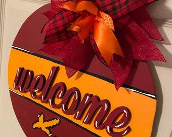 "NEW /""VIRGINIA TECH Hokies/"" VA College Girls Ribbon Hair Bow Rhinestone Clip NCAA"