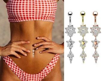 Flower Star Belly Button Ring, Navel Ring, Sea Belly Ring, Crystal Rings, Belly Rings, Dangle Belly Rings UK