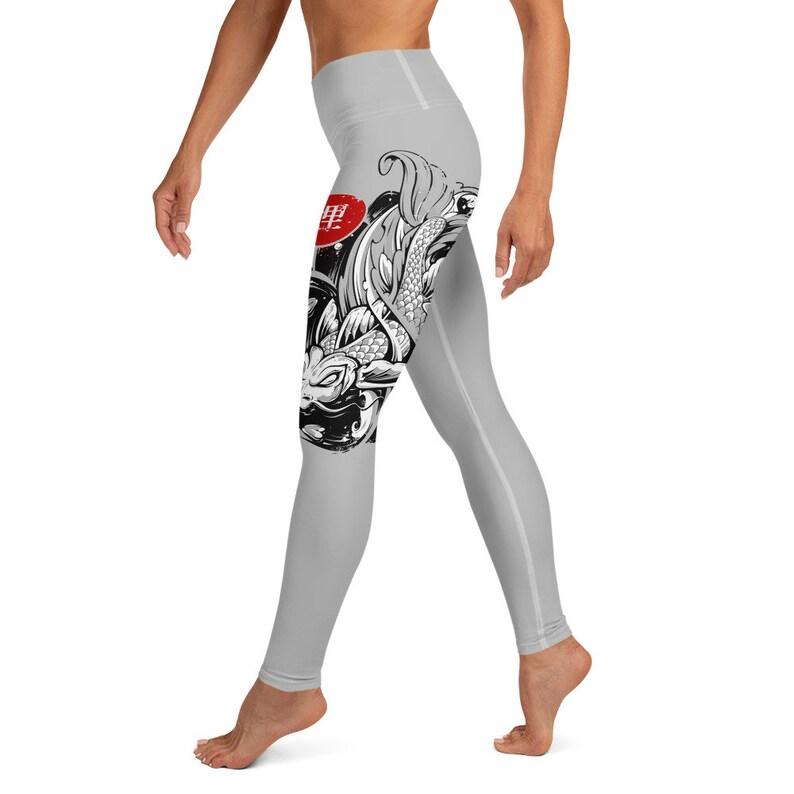 High Waisted Japanese Koi Fish Yoga Leggings for Yoga or any Occasion Single Leg Design Gray Yoga Pants Beautiful Koi Fish Design