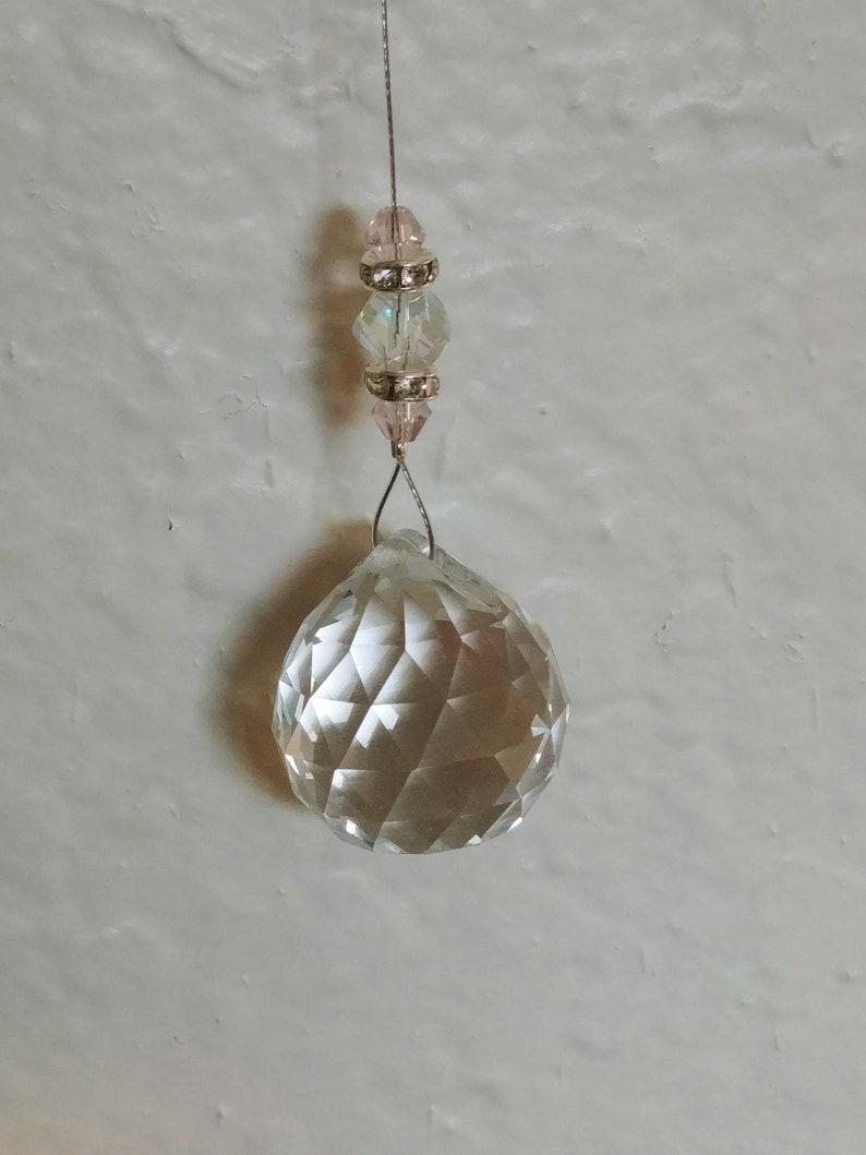 Pink Glass Bead Rainbow Prism Light Catcher Pink Butterfly Window Light Catcher Laser Cut Crystal Ball Prism Light Catcher