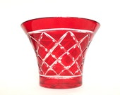 Vintage Ruby Red Glass Cut to Clear Diamond Pattern Flared Rim Bowl