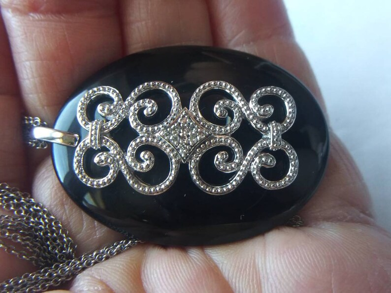 Gift for her Diamond /& black onyx sterling silver pendant with 3 strand necklace melee diamonds vintage item