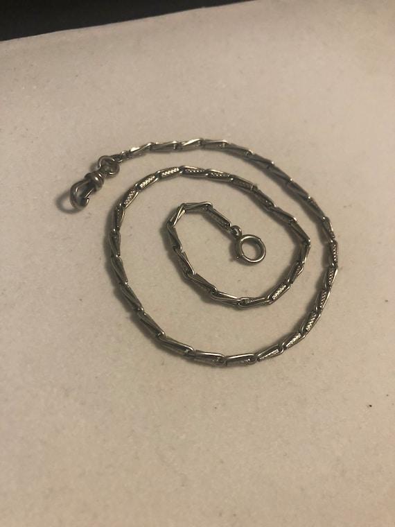 Victorian 14K grey gold pocket watch chain