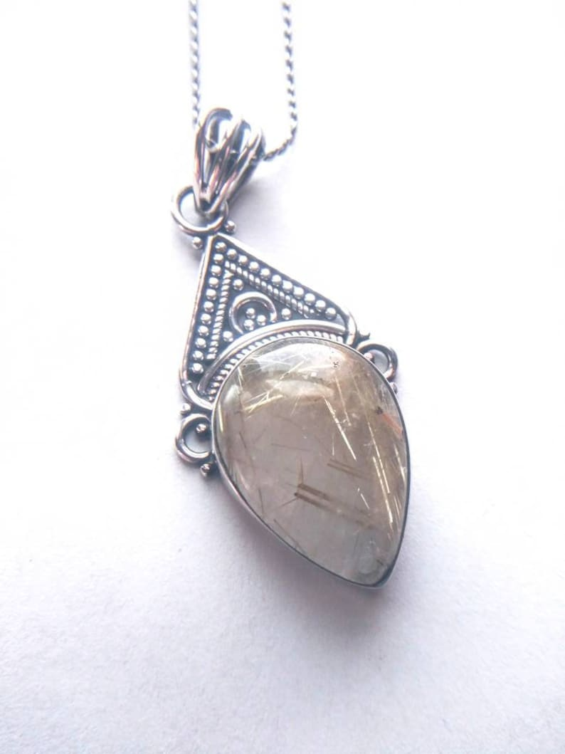 Sterling rutilated quartz pendant with necklace Large tear drop gemstone pendant Marked 925 Gift for her.