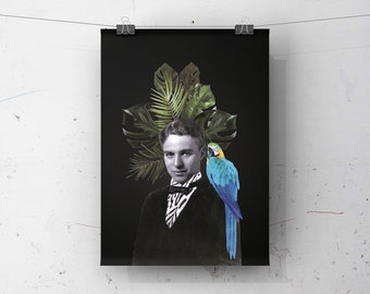"""8""""x10"""" poster with illustration CHARLIE CHAPLIN   Printing   Collage   Bird   Tropical   Vintage photo   actor"""