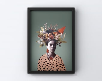 8x10 poster with FRIDA TURQUOISE illustration   collage   Vintage photo   Frida Kahlo   Flowers
