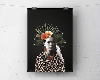 """8""""x10"""" poster with illustration FRIDA KAHLO   Printing   Collage   Bird   Tropical   Vintage photo   Flowers  painter"""