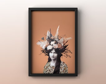 8x10 poster with illustration JEANNE HEBUTERNE   collage     woman Flowers  vintage photo   Painter
