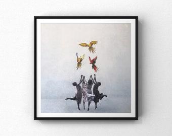 """Reproduction of the work """"La danse des parroquets, II""""   Fine art paper  16""""x16""""   Dancers  birds"""