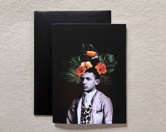 Pablo PICASSO greeting card     painter toucan   tropical   collage   Printing   vintage photo   bird  Flowers