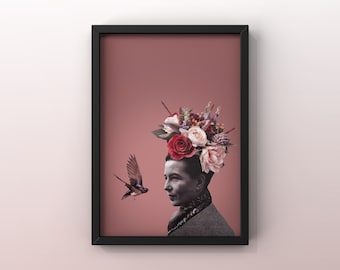 8x10 poster with illustration THE FLEURS OF Simone   Collage   Simone de Beauvoir   Philosopher   Poster   Art     woman Flowers  Bird