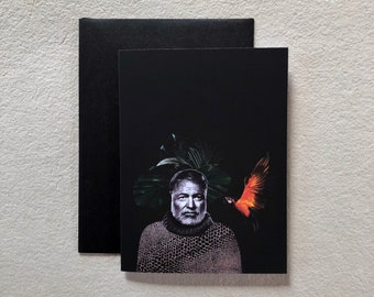ERNEST HEMINGWAY greeting card     stationery   impression tropical   parrot   writer   collage
