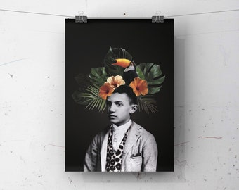8x10 poster with pablo PICASSO illustration   collage   Vintage photo   Tropical   Flowers  painter