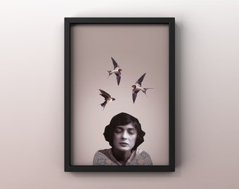 8x10 poster with illustration JULIA | Collage | | woman | Swallow Actress| Vintage photo | Julia James