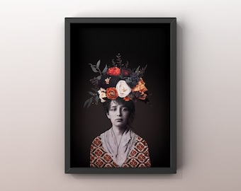 8x10 poster with CAMILLE CLAUDEL illustration   Collage   Artist     sculptor   woman Flowers  vintage photo   Print