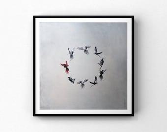 "Reproduction of the work ""Rouge rebelle""   Fine art paper  16""x16""     parrots Birds  circle"