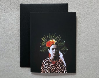 Greeting card with illustration FRIDA TROPICALE     stationery Collage   Printing   Frida Kahlo   Painter   Flowers  bird