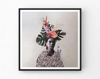 "Reproduction of the work ""Frida tropicale III""   Fine art   paper 16"" x16""   Frida Kahlo   Birds  Painter   Bird"