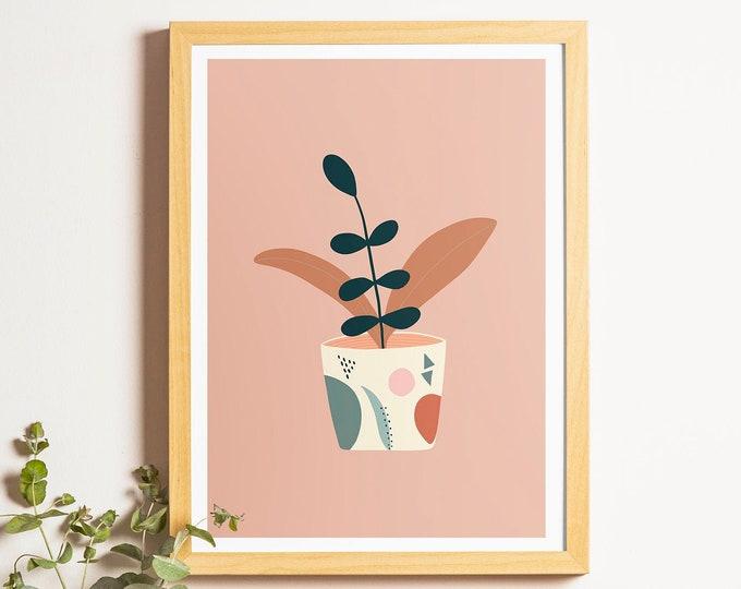 Potted House Plant Print A4 Botanical Print Plant Illustration Print Pot Illustration A5 A3 Giclee Print Wall Art Decor