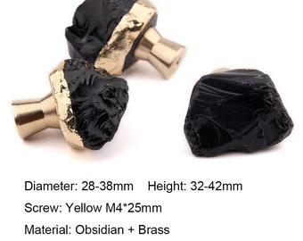 Obsidian brass drawer knob, crystal home deco, art decor handles, modern dresser knobs, furniture makeover hardware
