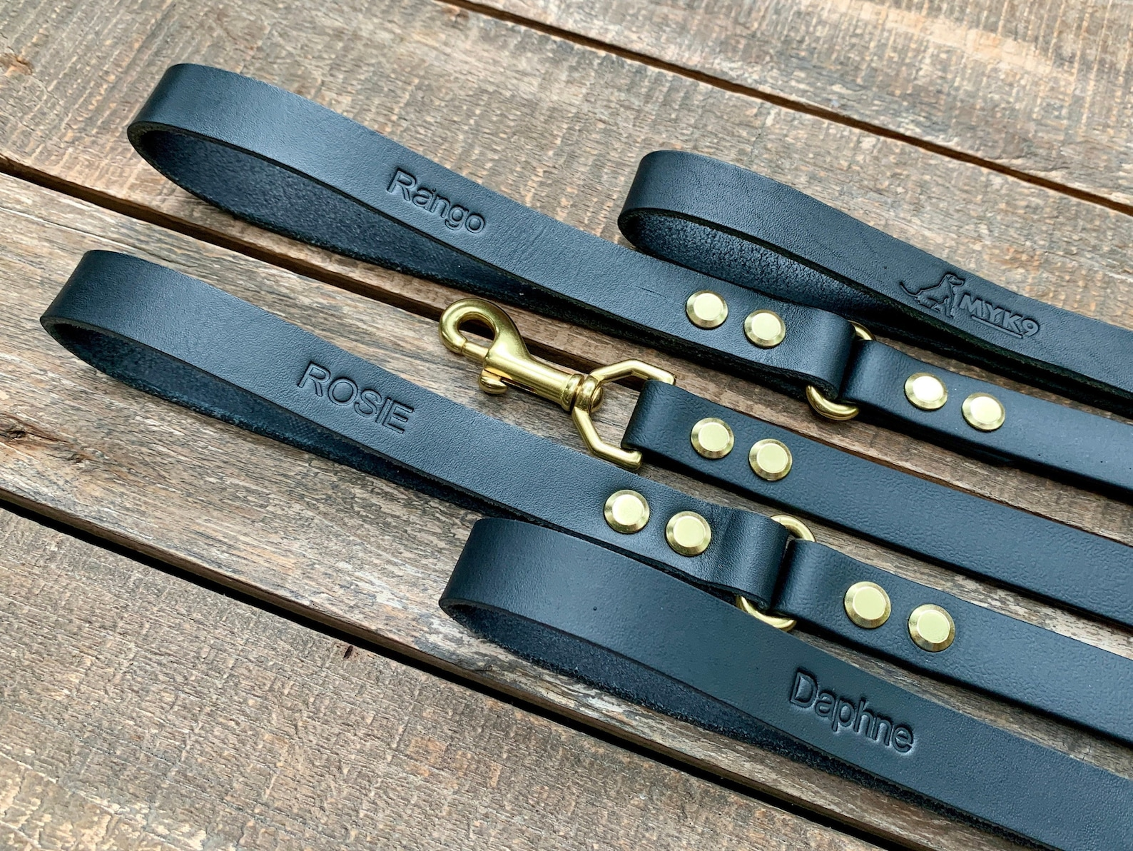 Black leather dog leash personalised