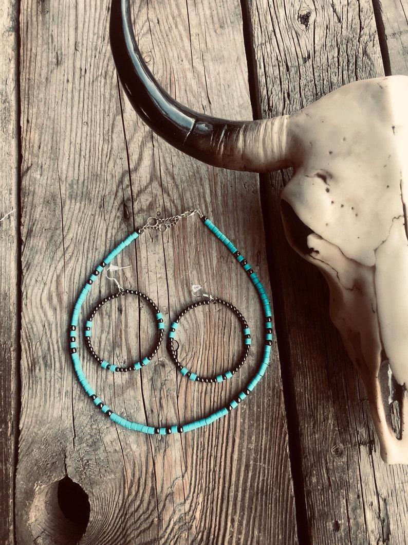 Turquoise Heishi Choker \u2022 Faux Navajo Pearls \u2022 Boho Western