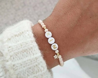 Customizable bracelet with glass beads and golden charm with fine gold • Bracelet first name, nickname, godmother, bacheloretter ...