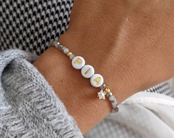 Customizable bracelet with alphabet letters and small colored crystal beads and charm • Bracelet first name, nickname, symbol