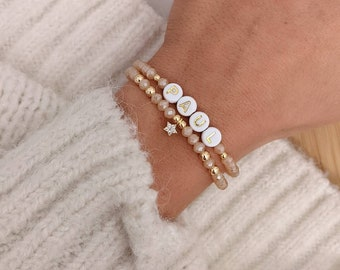 Customizable double bracelet with glass beads and golden charm with fine gold • Bracelet first name, nickname, godmother, bacheloretter ...