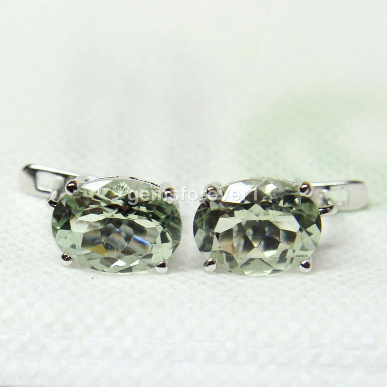Natural Green Amethyst Earrings-Faceted Oval Cut Earrings-Oval Cut Green Stone Earring-Birthstone Stud Earrings-Valantines Day Gift
