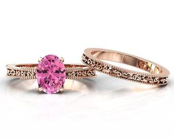 Vintage Pink Tourmaline Engagement Ring Set Antique Tourmaline Wedding Ring Set Rose Gold Tourmaline Bridal Ring Set Women Promise Ring Set