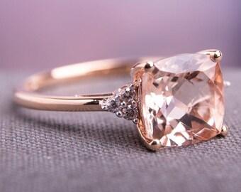Cushion Cut Morganite Engagement Ring Rose Gold Morganite Wedding Ring Unique Morganite Bridal Ring 14k Gold Morganite Promise Ring for Her