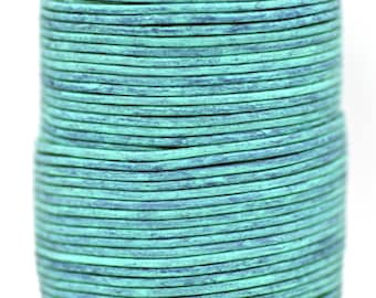 Vintage Distressed Turquoise On Sale Now 1.5mm BEST Quality European Leather Cord 2 Yards