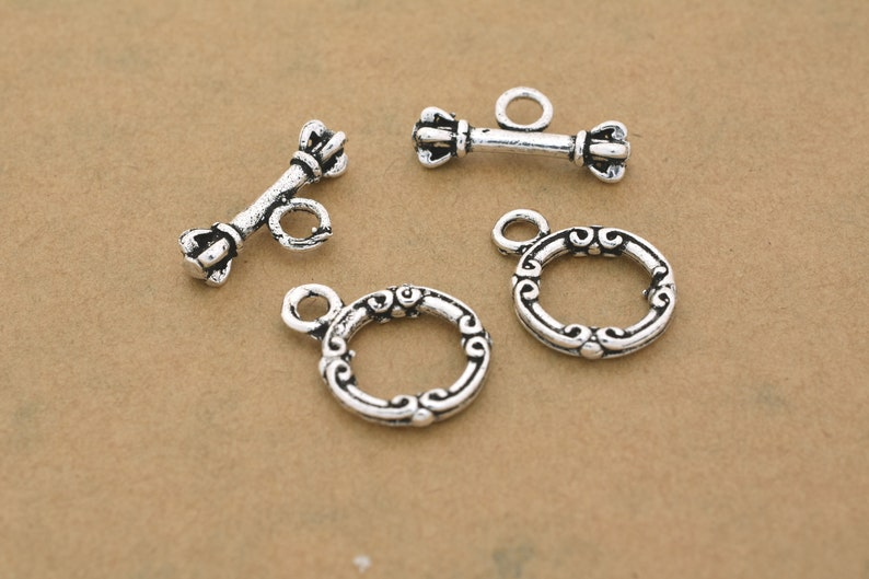 Bali Clasps for Necklaces, 2 Set Bali Style Silver Toggle Clasps for Bracelets Silver plated Round Clasps For Jewelry Making