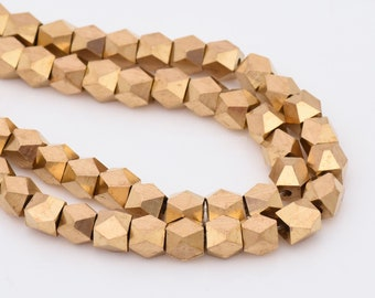 33pc-6mm Raw Brass Diamond Shape Spacer Beads For Jewelry Making, Faceted Spacer Beads, Diamond Cut Spacer Beads
