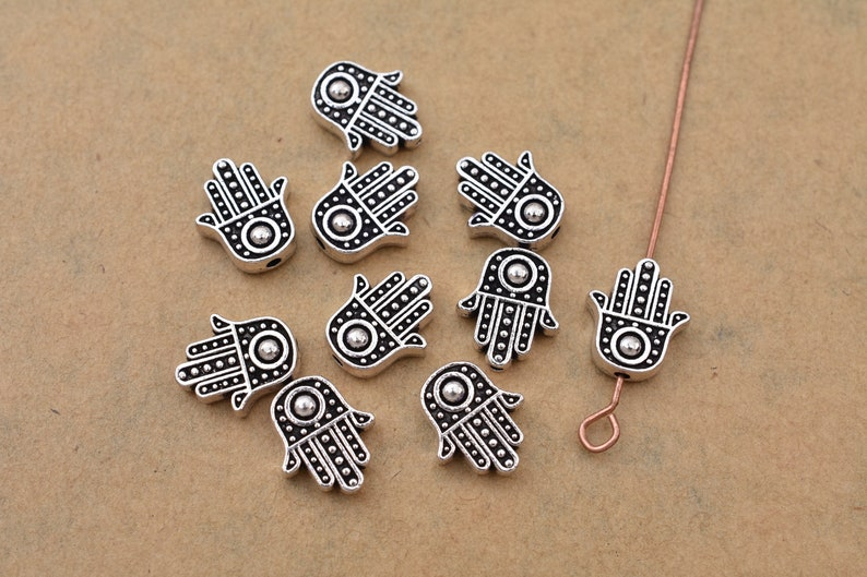 evil eye 12mm 10pcs Hamsa Hand Charms Antique Silver Plated Spirituality,Prayer bohemian charms for Bracelets jewelry making findings