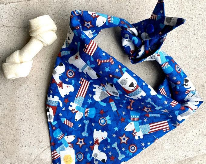 American Flag Dog bandana Dog Gift Patriotic Dog bandana Fourth of July Summer Dog bandana Patriotic Dog Scarf Patriotic Gift
