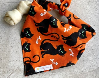 Halloween-Bandana-Dog-Cat-Scarf-Tie On-Bats-Full Moon-Paw Prints-Orange-Black-Party-Dog Clothes.