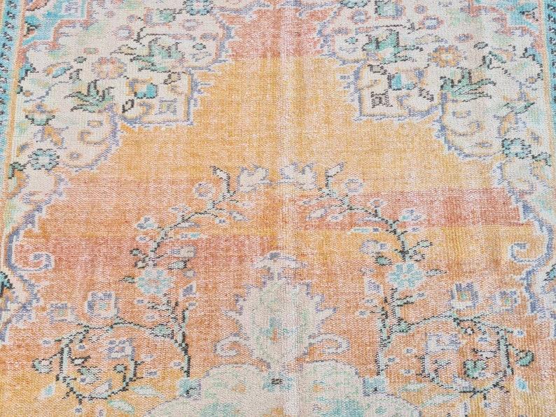 Area Rug Antique Oushak Carpet 6.2x10.5 ft Orange Purple Rug Vintage Rug Turkish Rug
