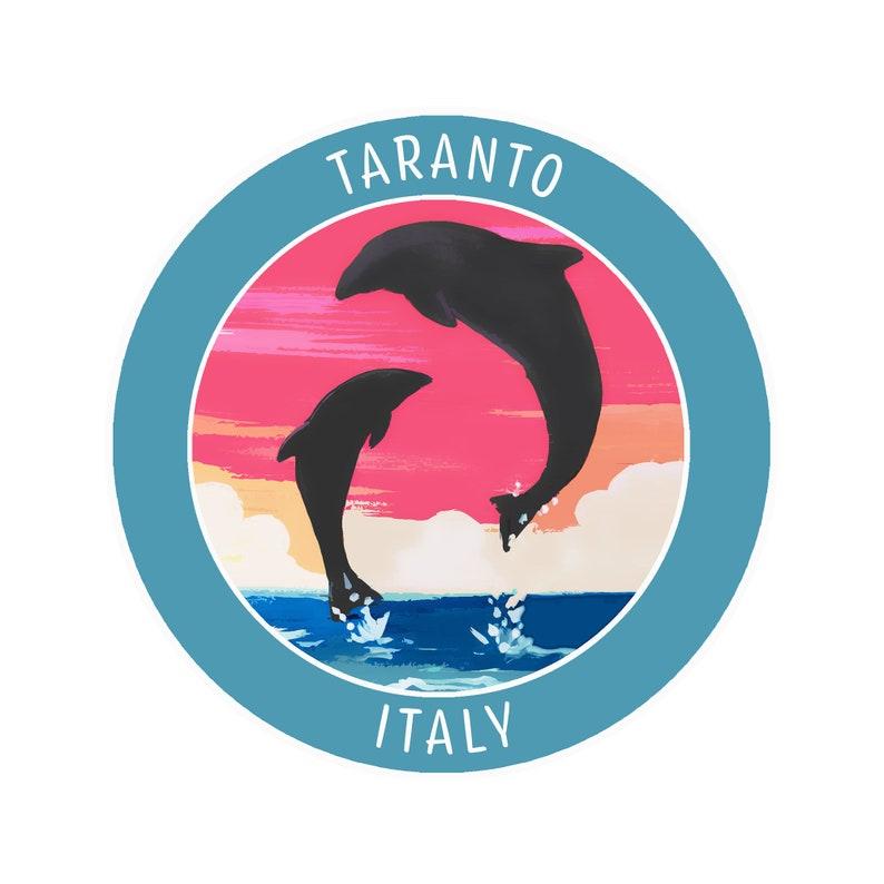 Taranto Italy Ocean Dolphins Tropical Sunset Beach Sticker ...