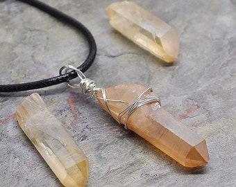 Amethyst /& Champagne Aura Quartz reiki energy wire wrapped earrings Goddess Earrings