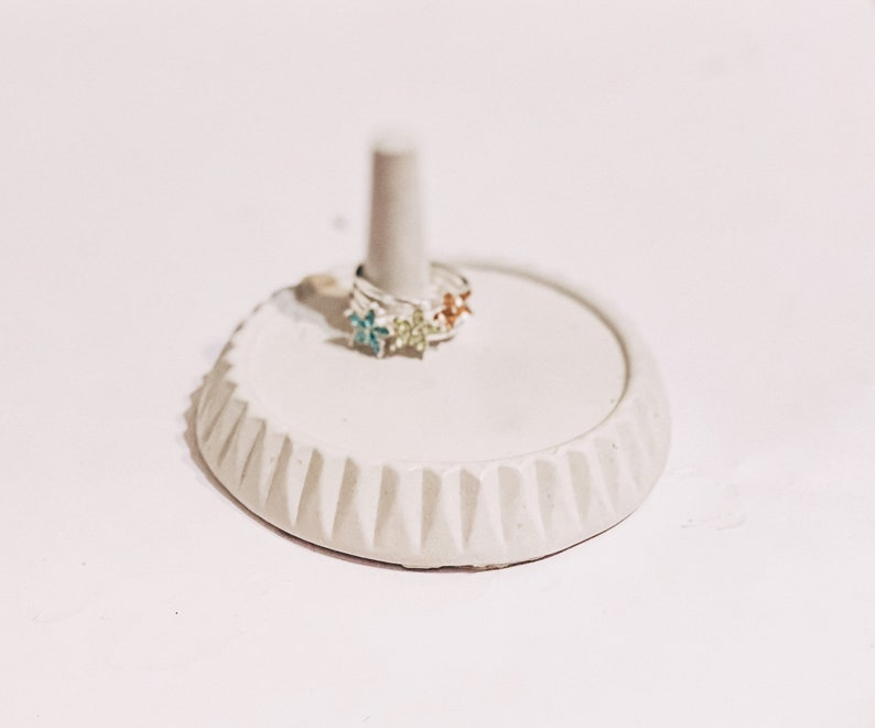 Jewelry Organizer and Hand Painted Home Decoration Stackable Ring Silver Tone and Concrete Ring Holder Set Ring Jewelry Dish