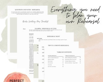 Wedding Rehearsal Planning Guide, Printable Wedding Planner, DIY Bride, Wedding Binder, Instant Download PDF
