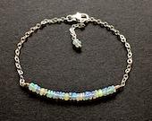 Opal October Birthstone Bracelet, Ethiopian Fire Opal Bracelet, Natural Faceted Opal Birthday Bracelet, Multi Fire Opal Bracelet For Her