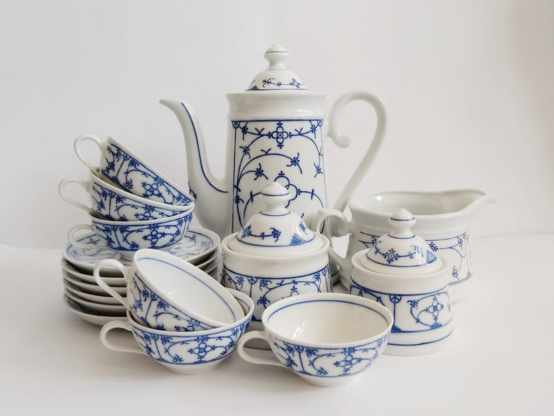 Vintage Porcelain Tea/Coffee Set | Indian Blue Straw Flower | German Porcelain |